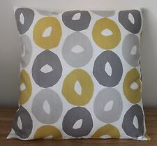 CLARKE & CLARKE BYBLOS CUSHION COVER YELLOW & GREY - 17 X 17""