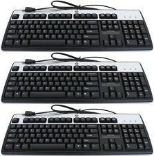 3 x *BRAND NEW* HP Full Size USB Keyboard/KB for PC/NB BLACK/SILVER 382642-B31