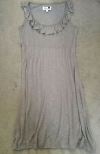 FOX WOMAN GREY DRESS WITH SCOOP NECKLINE AND FRILL ALONG IT - SIZE 3 - see measu