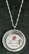 A MOTHERS HUG Rhinestone Round Floating Locket Sterling Silver Necklace Charms