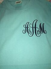 Monogram Left Chest Initial Comfort Color Long Sleeve Shirt Personalized Glitter