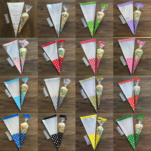 50Pcs Cello Cellophane Cone Sweet Candy Party Wedding Favuor Gift Bags Free Ties