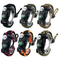 Outdoor Survival Braided Paracord Bracelet w/ Compass Whistle SOS LED Light #Z