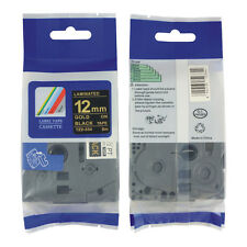 2PK TZ334 TZe334 Gold on Black Label Tape 12mm 1/2'' For Brother P-Touch PT-P700