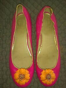 Lilly Pulitzer Ballerina Flats Hot Pink w/Orange Enamel Flower Sz 8
