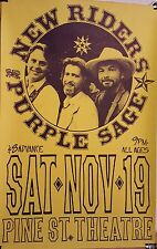 SCARCE NEW RIDERS OF THE PURPLE SAGE CONCERT POSTER Pine St Portland '83 XLNT