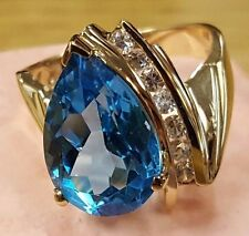 Awesome 10K Solid Yellow Gold 6.2gram London Blue Topaz Sapphires Ring Sz 7.25
