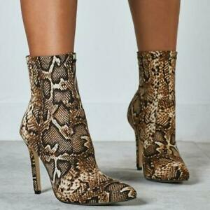 Fashion Women Snakeskin Print Pointy Toe Ankle Boots Party Shoes Sexy