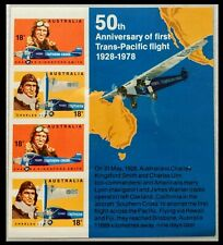 123.AUSTRALIA 1978 IMPERF STAMP M/S TRANS-PACIFIC FLIGHT . MNH