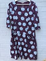 White Stuff Size 12 Purple Mauve Patterned Cotton Dress Round Neck Summer Spotty