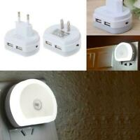 LED Night Light With Dual USB Wall Charger Plug Dusk Lamp to New Dawn Wall X5F0