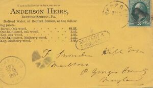 USA :1880 : Post Porto Card Bedford Springs,Pa To Winchester,Missent,Forwarded