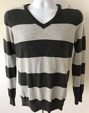 Pull&Bear Mens Pullover Sz S Grey Striped V-Neck Sweater Long Sleeve 100% Cotton