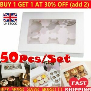 50X Windowed Cupcake Boxes White Clear for 4 & 6 Cup Cakes With Removable Trays