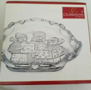 Celebrations by MIKASA Frosted Snack Dish Christmas Carolers NEW