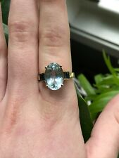 10kt yellow gold BIG Oval Natural Aquamarine and Blue Sapphire Ring