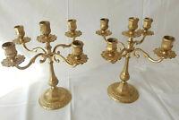 Belle Paire de Candelabre Chandelier 5 feux laiton doré bougeoirs art nouveau