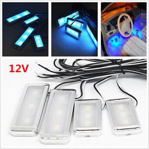 4PCS/set Car SUV Door Bowl Handle 3 LED Ambient Atmosphere Light Interior Blue
