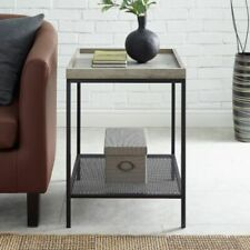 Manor Park Urban Industrial Wood and Metal End Table - Rustic Oak