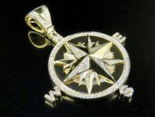 "Men's Real 10K Yellow Gold Genuine Diamond Compass Pendant Charm 1 Ct 2"""