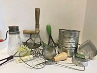 Vintage Lot Kitchen Utensils Tools Bromwells Shifter Green Handles Jello Molds