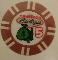 WELCOME TO FABULOUS LAS VEGAS - (50)chips $5  CASINO GAMING SOUVENIR CHIP