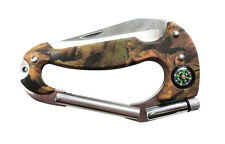 Carabiner Multi Tool Knife with LED Light, Compass Camping/Mountaineering