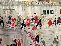 Pair vintage era square dancers western cotton fabric curtains drapes panels!