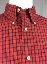 Tommy Hilfiger Golf Men's Plaid Red Long Sleeve Button Down Collar Shirt Medium