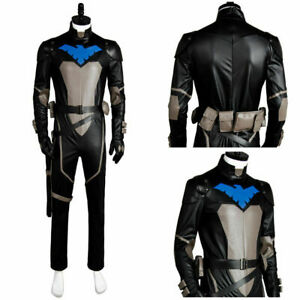 Young Justice S2 Nightwing Cosplay Costume Jumpsuit Suit Outfit Mask Set Uniform