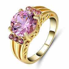 Size 9 Oval Pink Sapphire Engagement Ring 10KT Yellow Gold Filled Party Jewelry