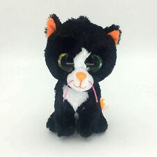 "Ty Beanie Boos 6"" Kiki Black Tabby Cat Stuffed Plush Toys Child Gift BC"