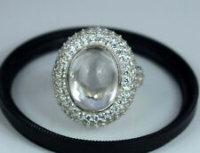 Ceylon 14.48 Ct Natural Padparadscha White Sapphire 925 Silver Ring With Accents