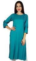 Bimba Women Teal Rayon Kurta Designer Kurti 3/4 Sleeve Formal Casual Tunic