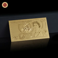 WR 24K British £20 Pound Note Old England GOLD Banknote Chirstmas Gifts for Dad
