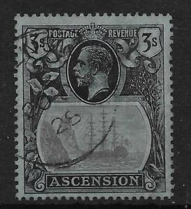 ASCENSION SG20 1924 3/= GREY-BLACK & BLACK ON BLUE USED
