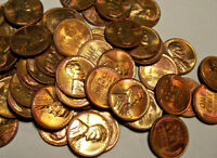 """1958d LINCOLN WHEAT CENT /  BU """"RAINBOW"""" ROLL  /  FOR ONE COIN / FROM UNC ROLL!"""