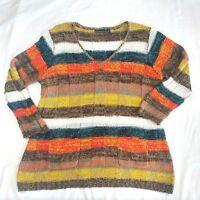 Kristin Nicole Womens Sweater Plus 3X Striped Pockets L/S V Neck Colorful Top