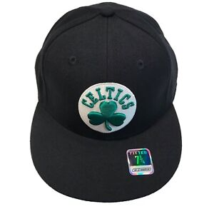 Boston Celtics NBA Reebok Courtside Black Tonal 7 3/4 Fitted Cap Hat $30