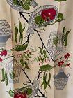 Vintage Linen Tea Towel-1940's/1950's-Wicker Abstract W/ Vegetables, Flowers