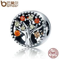 BAMOER S925 Sterling silver charm fall Tree with AAA Zircon For Women bracelets