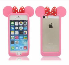For iPhone SE 5S - SOFT SILICONE RUBBER SKIN BUMPER CASE PINK MINNIE MOUSE EARS