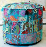 Ottoman Vintage Pouf Round Indian Ottoman Cover Poof Pouffe Foot Stool Ethnic