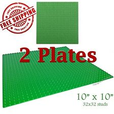 For LEGO, 2 Green 10x10-inch 32x32-stud Brick Building Base Plates * NEW *