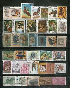 INDIA : 36 DIFF. INDIAN WILDLIFE & DOMESTIC ANIMALS INCL.5 COMPL.SETS,COMMEMO.FU