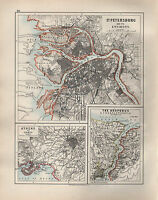 1904 Ancien Carte St & Environs Athens Piraeus Bosporus Constantinople