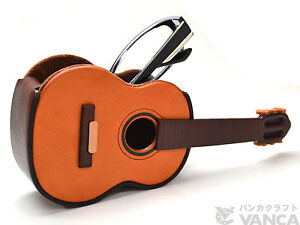 Guitar Handmade Leather Eyeglasses Holder/Stand *VANCA* Made in Japan #26218