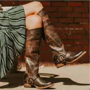 New Womens Retro Cowboy Over Knee High Riding Boots Pull On Low Mid Heels Shoes