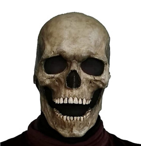 Skull Mask with Moving Jaw, Adult Entire Head Latex Helmet