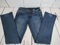 Womens Lucky Brand Jeans Sz 0/25 Boot Cut Blue Inseam 31 Embellished Pockets A8